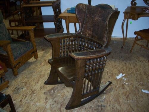 Quarter Sawn Oak Mission/Art Nouveau Massive Rocker