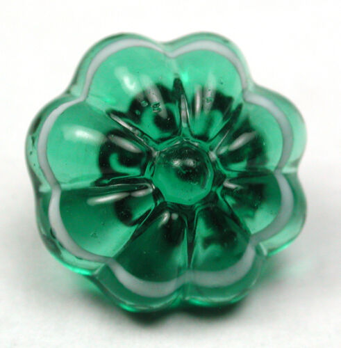Antique Charmstring Glass Button Green Flower Mold w/ White Band Swirl Back 1/2""