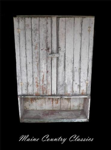 Antique Primitive 2 Door MAINE JELLY CUPBOARD Chippy White Over Green Paint