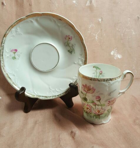 Vintage Pink and Green Floral Demitasse Tea Cup and Saucer Germany