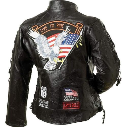 Womens Black Genuine Buffalo Leather MOTORCYCLE JACKET Coat Biker US Eagle Flag