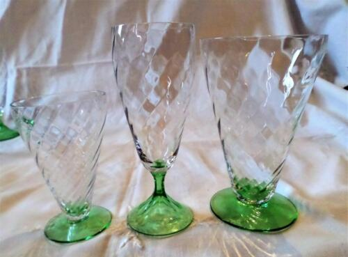DEPRESSION GLASS TIFFIN CLEAR OPTIC GREEN BASE 14 PC  2 JUICE 8 WINE 4 PARFAIT