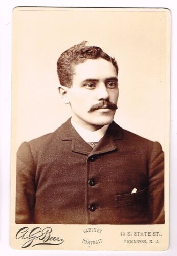 1880s Handsome Italian Immigrant Man Shows Confidence by A G Beer Trenton NJ