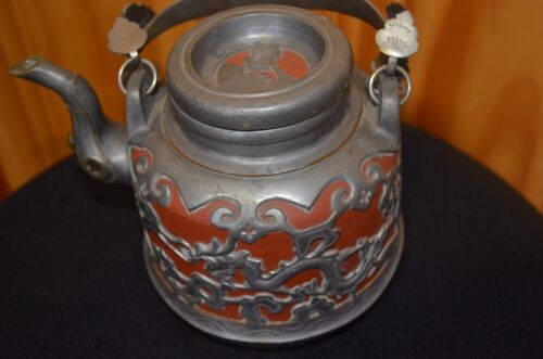 Vintage Chinese Yixing Red Clay & Pewter Dragon Tea Pot & Red Glass Ball Spout