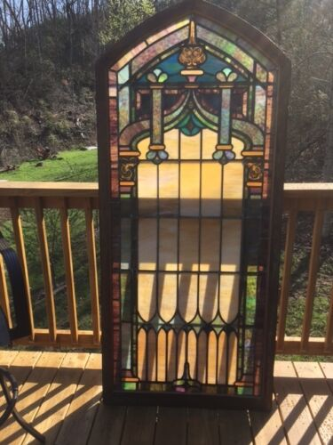 Beautiful Vintage Large Stain Glass Church Window