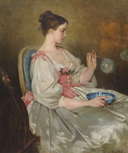Fine Large19th Century French Lady Blowing Bubbles Antique Oil Painting CHAPLIN