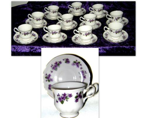 Vtg QUEEN ANNE Ridgway Potteries Bone China Purple Violets Teacup & Saucer!