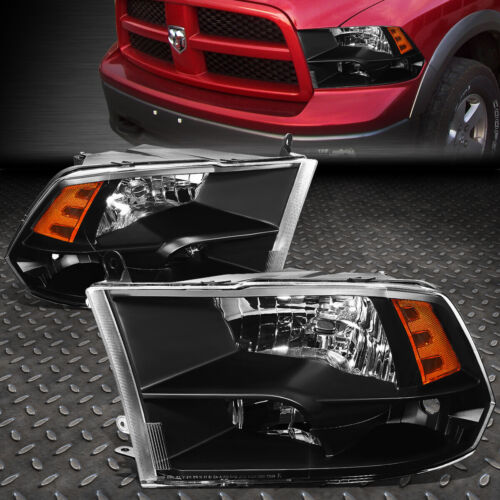 FOR 09-18 RAM 1500 2500 3500 BLACK HOUSING AMBER CORNER HEADLIGHT HEAD LAMPS <br/> Factory Style; Only Fits Models with Quad Headlamps!