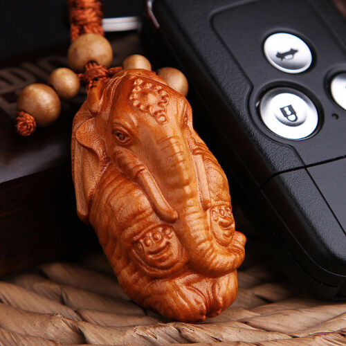 Elephant God Ganesha Statue Rosewood Wood 3D Carving Sculpture Pendant Key Chain