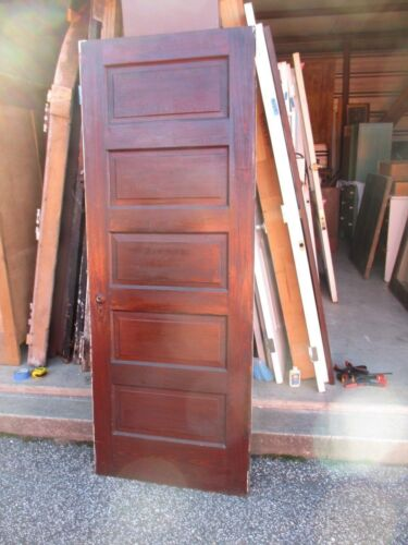 ANTIQUE VINTAGE 5 PANEL INTERIOR DOOR  APPROX 32 X 79 STAINED / PAINTED