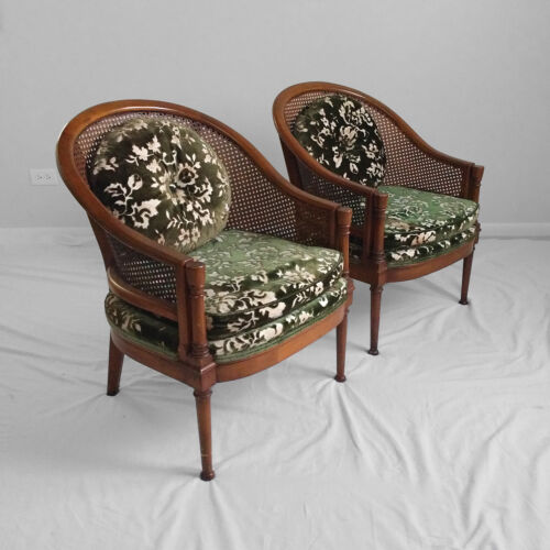 2 hollywood regency cane barrel back accent chairs mid century french vtg