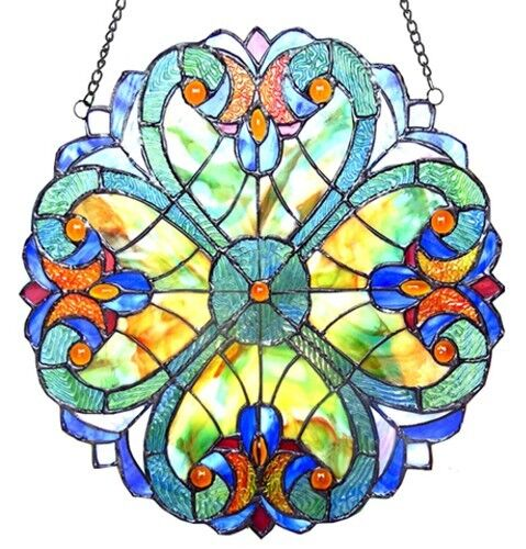 "Tiffany Stained Glass Panel ""Four Hearts"""