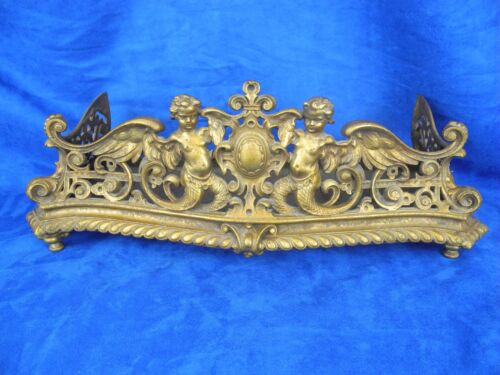 Antique Victorian Fireplace Fender Brass Gold Tone Decorative with Angels