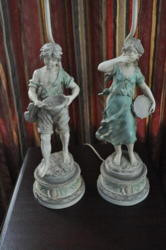 Pair of Signed Vintage L & F Moreau Figural Table Lamps French Spelter