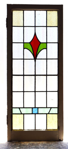 Large Tall Antique Stained Glass Window Five (5) Color Art Nouveau Bloom (3015)
