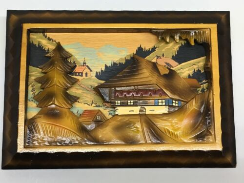 "Vintage German Black Forest Hand Carved 9""x 6.5"" Wooden Diorama Made in Germany"