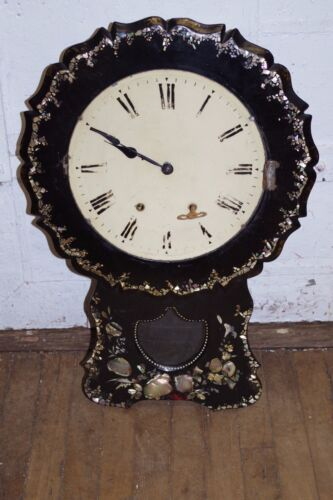 Antique Dark Wood Clock Mother of Pearl MOP Abalone Inlaid w/ Key