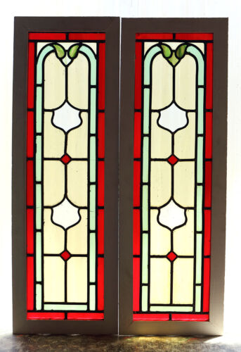Tall Pair of Antique Stained Glass Windows Five (5) colors Ruby Red Border(3023)