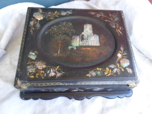 ANTIQUE VICTORIAN 19th CENTURY PAPER MACHE INLAID MOTHER OF PEARL LAP DESK BOX