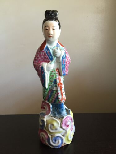 Fine 19th / 20th C Chinese Famille Rose Porcelain God Deity Statue SIGNED NR