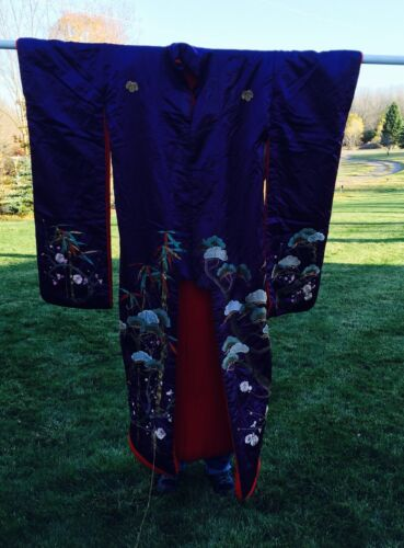 Antique Japanese Silk Kimono Embroidered Purple With Red Lining