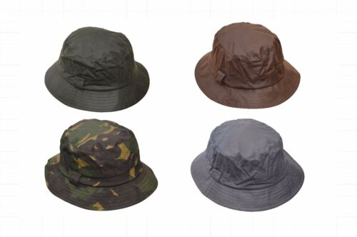 Walker & Hawkes Mens Ladies Wax Bush Bucket Hat Hunting Shooting 100% Cotton <br/> Available in Olive Brown Navy and Camo