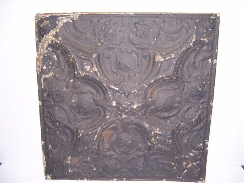 "ANTIQUE BLACK PAINT METAL TIN CEILING TILE 24"" X 24"" SHEET PANEL RECLAIM SALVAGE"