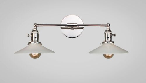 Vintage Art Deco Double Wall Sconce - Industrial Lighting - Copper & Opal Glass