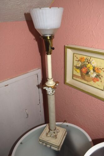 Vintage Colonial premier Hollywood Regency cast iron and marble column Lamp