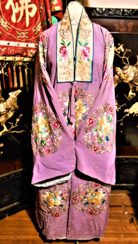Amazing Antique Chinese Silk Robe Embroidered Peking Opera Theatrical Stamped