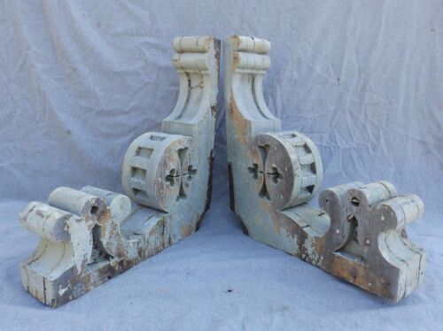 Antique Pair Wood Corbels Shabby Cottage Chic Vintage 582-17R