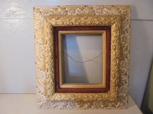 Antique Gold Gilt Gesso Shadow Box Brown Felt Wall Frame