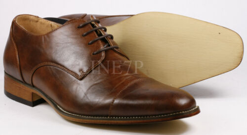 Men's Pre-Owned Brown Cap Toe Lace Up Fashion Oxford Dress Shoes