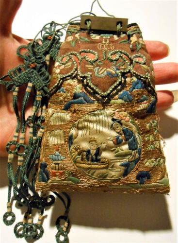 Super Antique Chinese Silk Gold Embroidered Robe Purse Qing Ching Noble Museum
