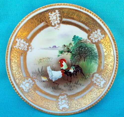 Antique Vintage Decorative Porcelain Hand Painted Gold Plate Roosters Chickens