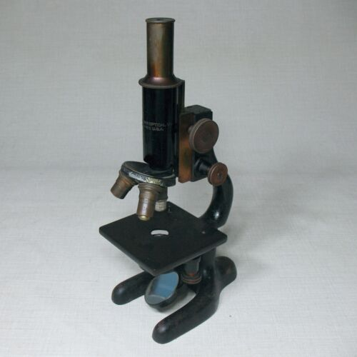 BAUSCH AND LOMB ANTIQUE BRASS IRON CAST MICROSCOPE WITH 3 OBJECTIVES