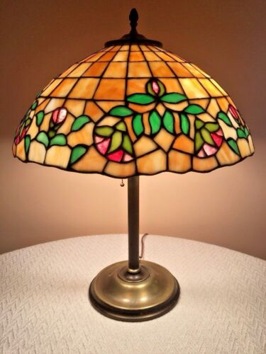 Antique Lamb Whaley Chicago Mosaic Wilkinson Stained Leaded Glass Floral Lamp