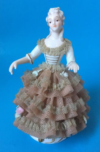 Porcelain Victorian Lady Figurine Dresden Lace Gown Rose Arms Away Unsigned 6492