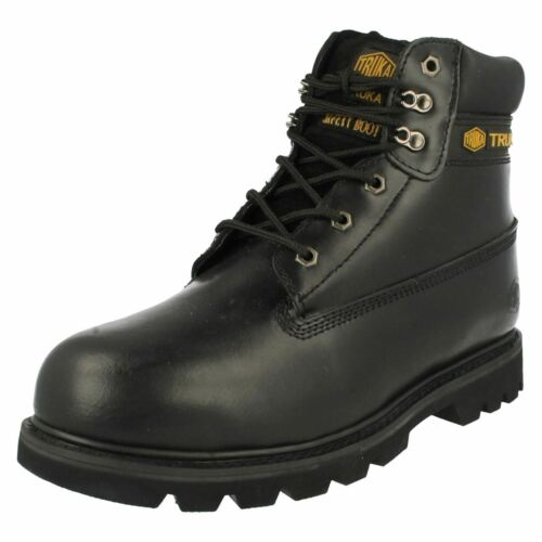 Mens Truka black leather ankle safety boot WL-02 size UK 9