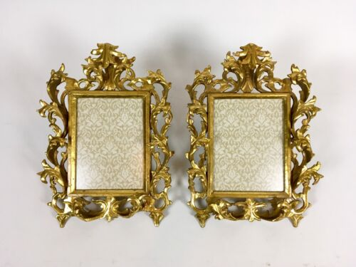 Gorgeous Pair 19th Century Antique Carved Gilt Wood Florentine Picture Frame