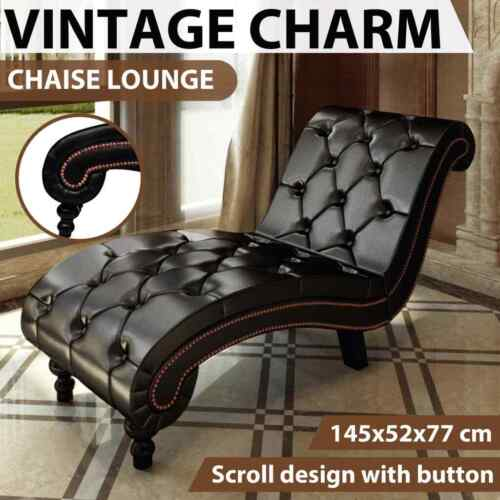vidaXL Chaise Lounge with Buttons Artificial Leather Brown Sofa Seat Chair