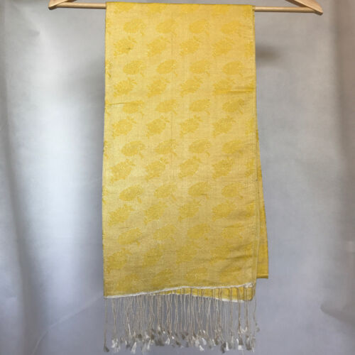 Silk blend, floral print yellow water Shawl/Scarf ,Hand Made in Nepal