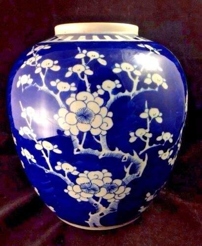 Antique Chinese KANGXI Ginger Jar Prunus Blossom Tree Blue White, Double Circle