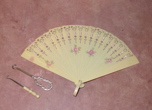 Lot: Victorian French Ivory Celluloid Hand Fan w Two Button Hooks