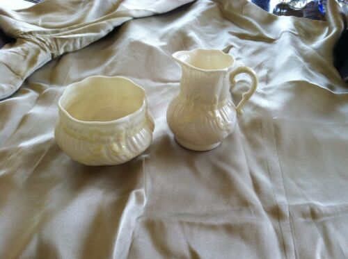 Vintage Fine Belleek Yellow Ribbon Sugar Bowl & Creamer Pitcher Irish China