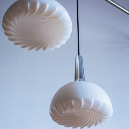 "LARGE PEILL & PUTZLER CEILING PENDANT LAMP ""THE SWIRL""  WHITE OPAQUE 1970s 70s"