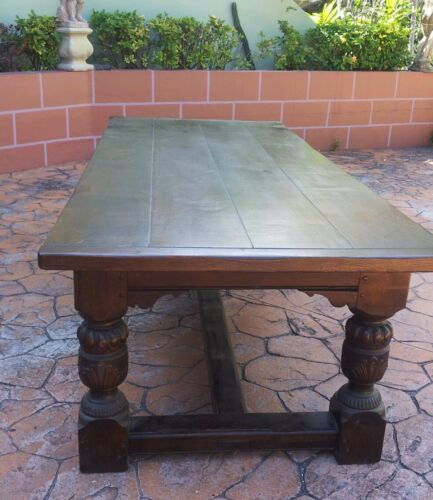 """English Refectory Table Solid Oak Carved Jacobean Style 102"""" L."""