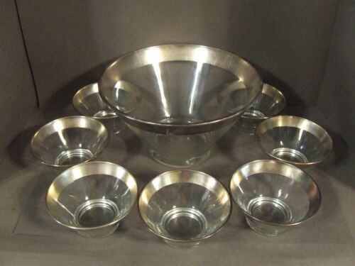 MID-CENTURY DOROTHY THORPE STERLING SILVER BAND SALAD SERVING BOWL W/ 7 BOWLS