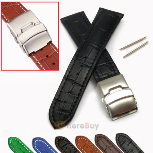 Mens Genuine Leather Watch Strap Band Croco Deployment Clasp Spring Bars 2017