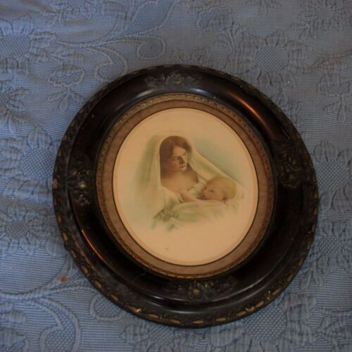 Antique Victorian Civil War Era Oval Picture Frame,Modonana & Child Print